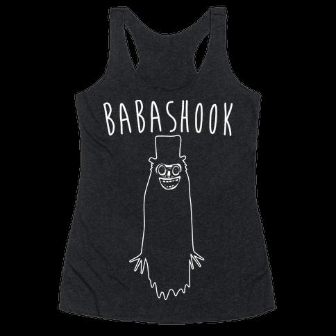 Babashook Parody White Print Racerback Tank Top