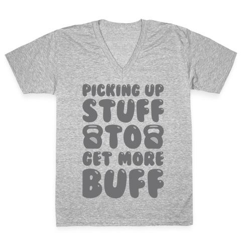 Picking Up Stuff To Get More Buff White Print V-Neck Tee Shirt