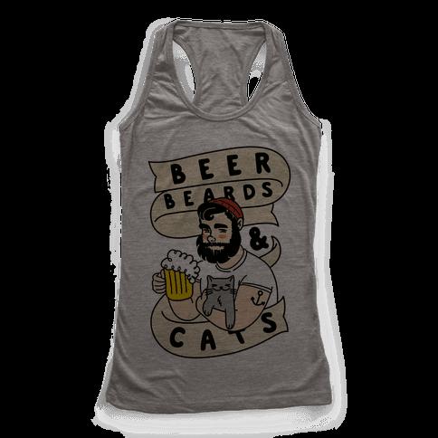 Beer, Beards and Cats Racerback Tank Top