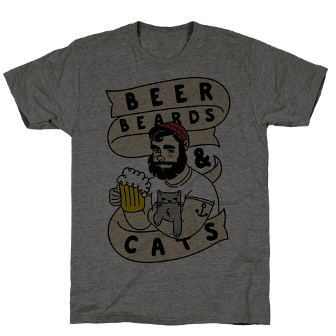 Beer, Beards and Cats Mens T-Shirt