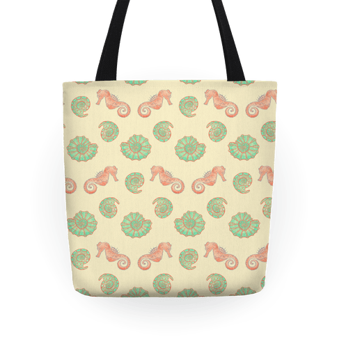 Shell and Seahorse Pattern Tote