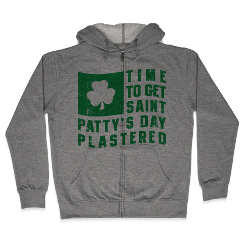 Time to Get Saint Patty's Day Plastered (Tank) Zip Hoodie