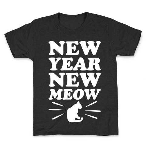 New Year New Meow White Print Kids T-Shirt