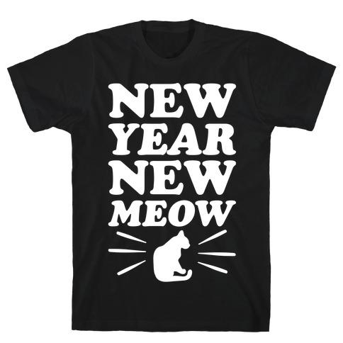 New Year New Meow White Print T-Shirt