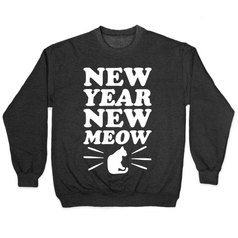 New Year New Meow White Print Pullover