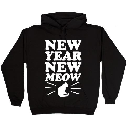 New Year New Meow White Print Hooded Sweatshirt
