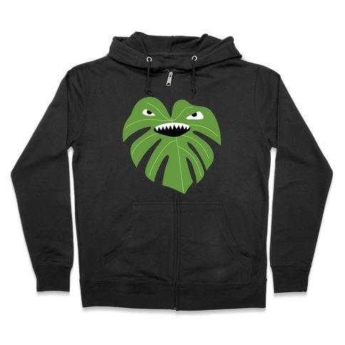 Monstera Leaf Monster Zip Hoodie