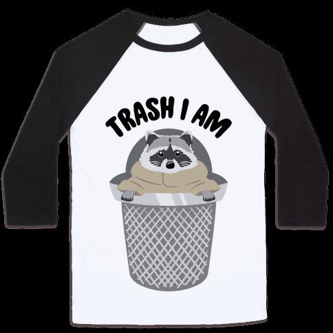 Trash I Am Raccoon Baby Yoda Parody Baseball Tee