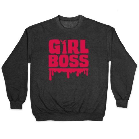 Girl Boss Vampire Parody White Print Pullover