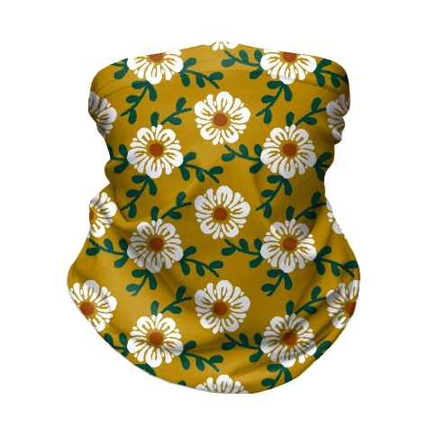 Retro Flowers and Vines Mustard Yellow Neck Gaiter