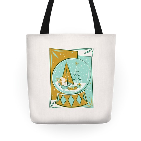 Mid-Century Modern Mermaid Holiday Snow Globe Tote