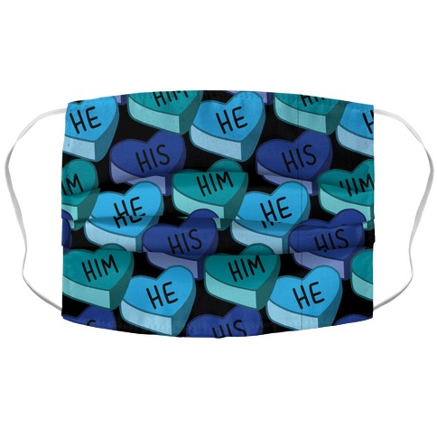 Male Pronoun Candy Hearts Accordion Face Mask