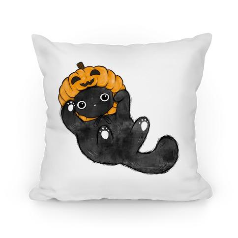 Halloween Pumpkin Cat  Pillow
