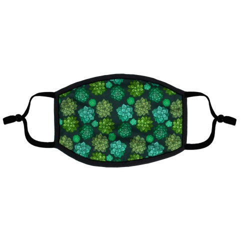 Green Succulent Pattern Flat Face Mask