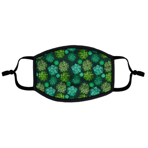 Green Succulent Pattern Flat Face Mask