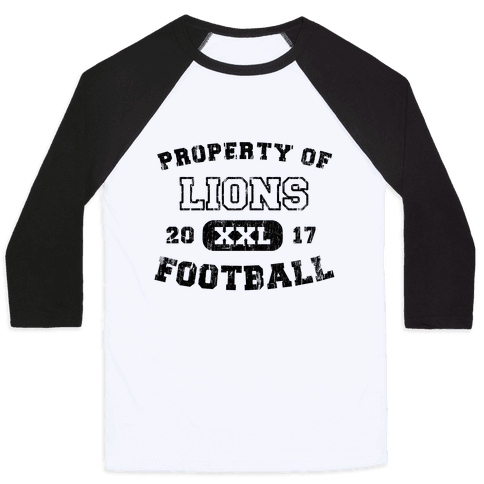 Property of Lions Football test Baseball Tee