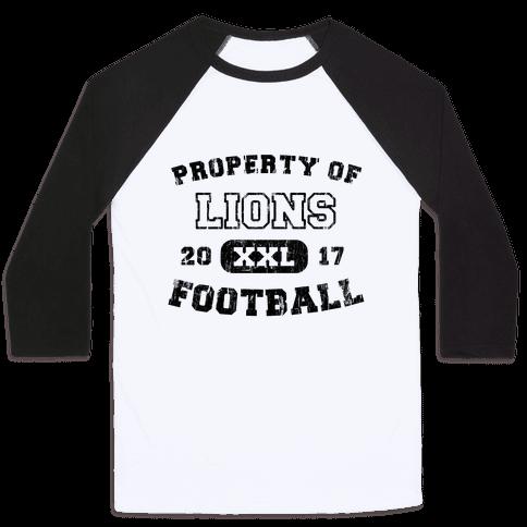 Property of Lions Football test Baseball Tee