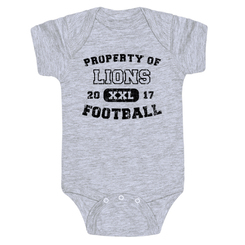 Property of Lions Football test Baby Onesy
