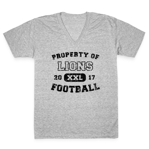 Property of Lions Football test V-Neck Tee Shirt