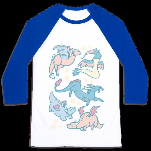 Dreamy Dragon Pattern Baseball Tee