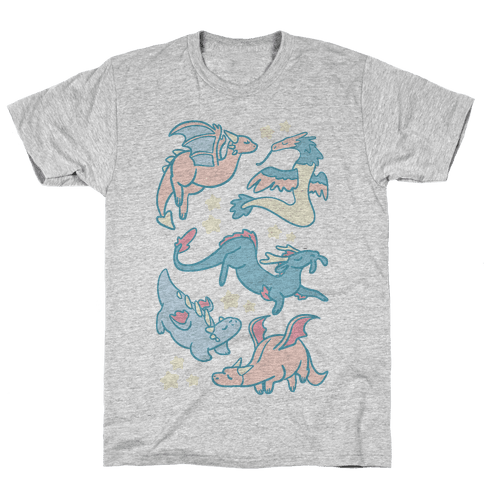Dreamy Dragon Pattern Mens T-Shirt