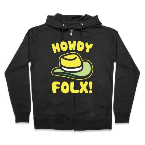 Howdy Folx White Print Zip Hoodie