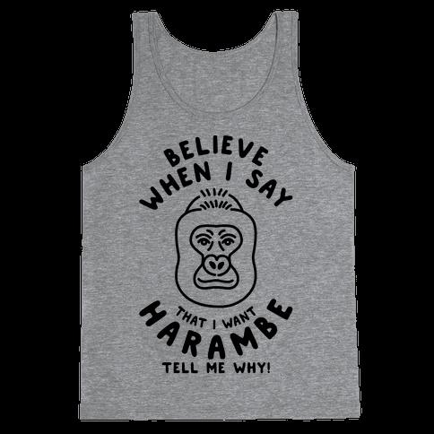I Want Harambe Parody Tank Top