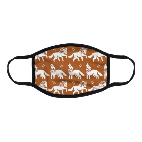 Wolf Rust Boho Pattern Flat Face Mask