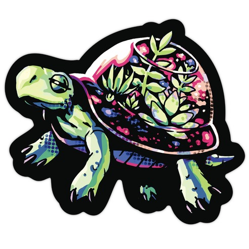 Turtle Succulent Terrarium Die Cut Sticker
