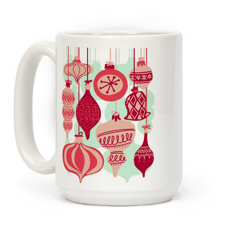 Red Holiday Ornament Pattern Coffee Mug