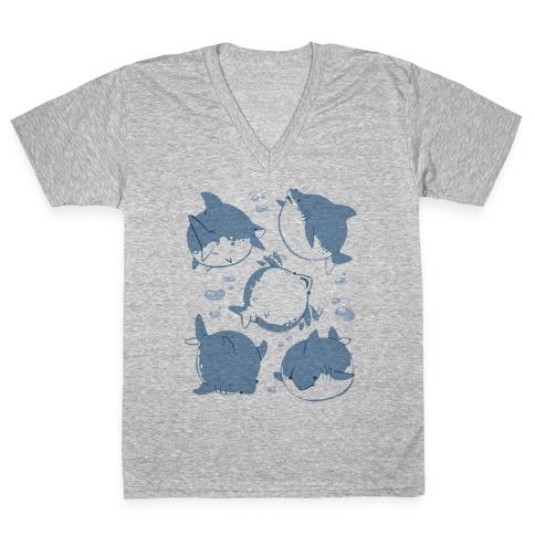 Fat Shark Pattern V-Neck Tee Shirt