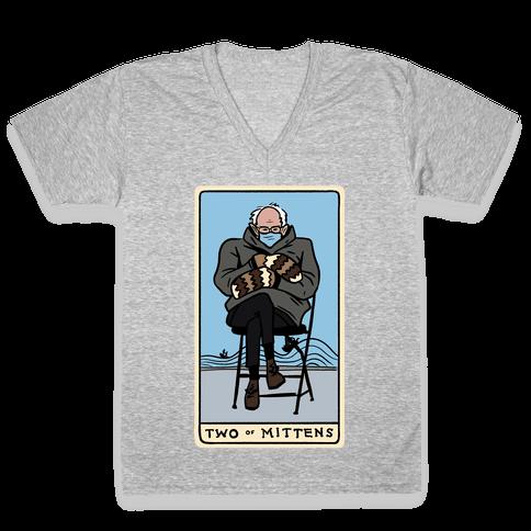 Two of Mittens (Bernie Tarot Parody) V-Neck Tee Shirt