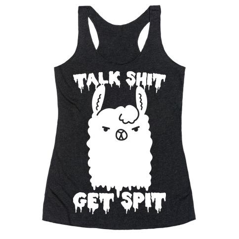 Talk Shit Get Spit Llama Racerback Tank Top