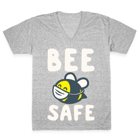 Bee Safe White Print V-Neck Tee Shirt