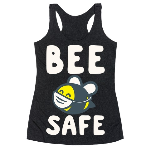 Bee Safe White Print Racerback Tank Top