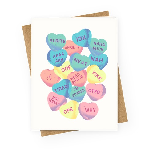 Awkward Candy Hearts Greeting Card