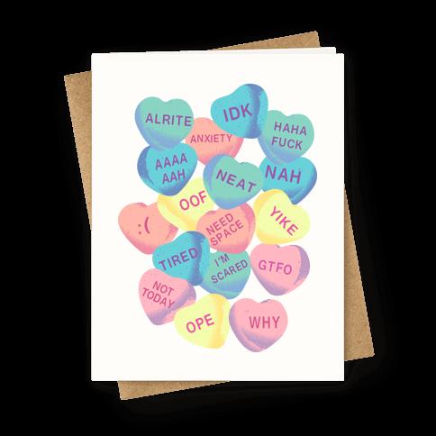 Awkward Candy Hearts Greeting Card