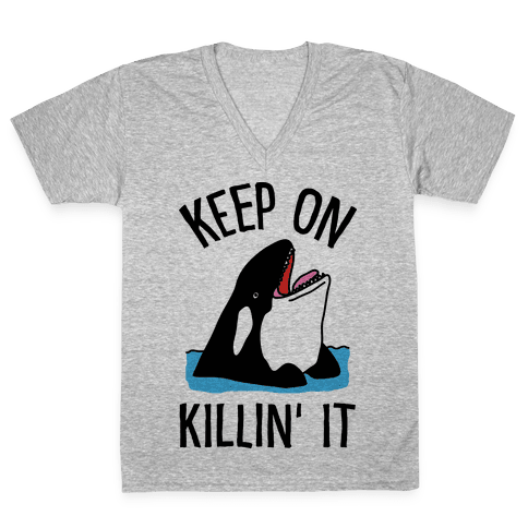 Keep On Killin' It Whale V-Neck Tee Shirt