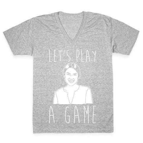 Let's Play A Game AOC White Print V-Neck Tee Shirt