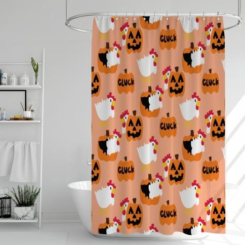 Clucky Pumpkin Pattern Shower Curtain