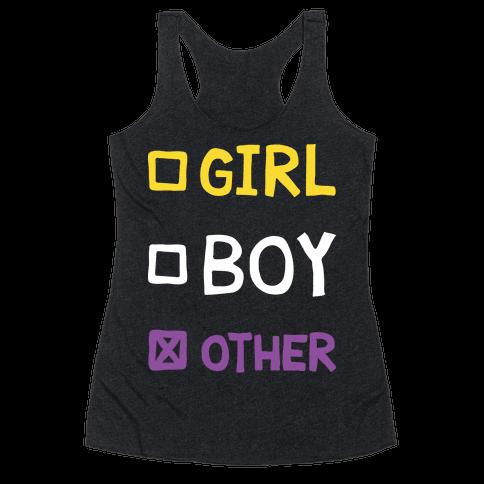 Non-Binary Gender Checklist Racerback Tank Top