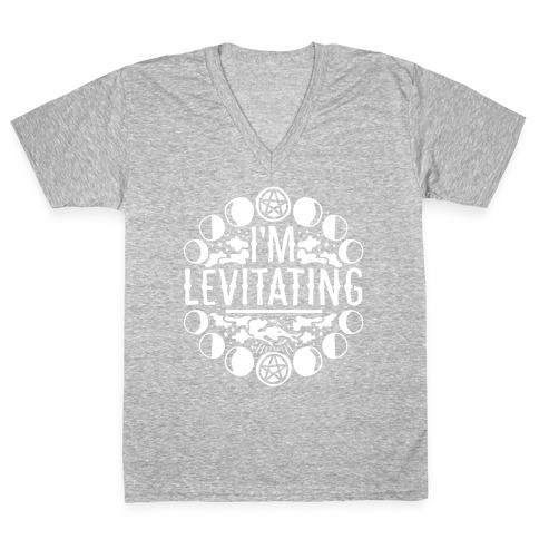 I'm Levitating Parody White Print V-Neck Tee Shirt