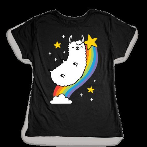 Llama On A Rainbow Womens T-Shirt