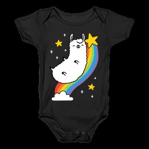 Llama On A Rainbow Baby Onesy