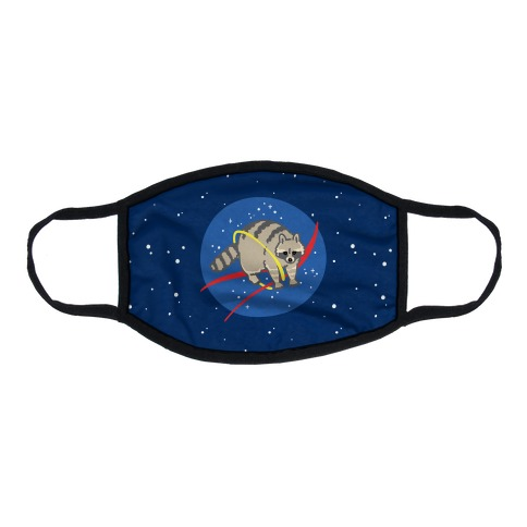 Trash Raccoon Nasa Logo Parody Flat Face Mask