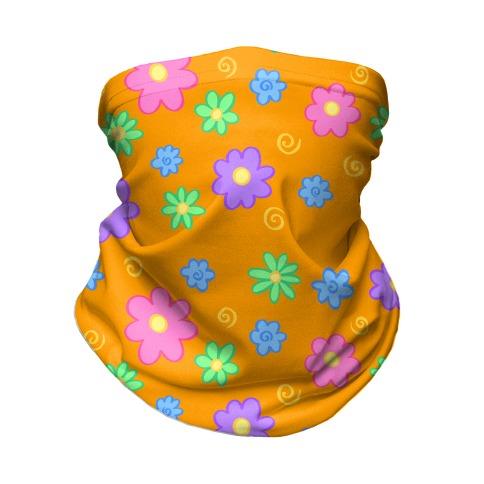 Doodle Flowers Orange Neck Gaiter