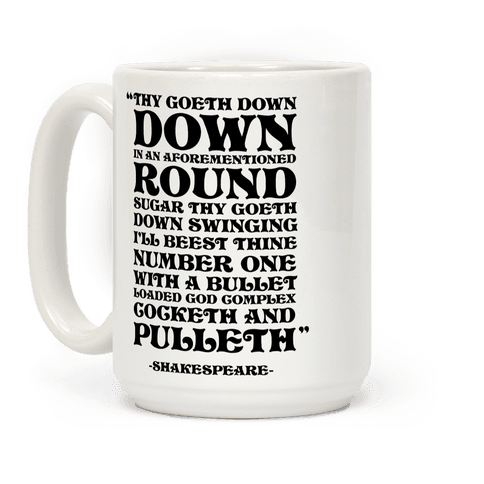 We're Going Down Down In An Earlier Round Shakespeare Parody Coffee Mug