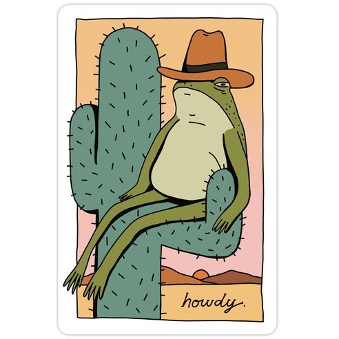 Howdy Frog Cowboy Die Cut Sticker