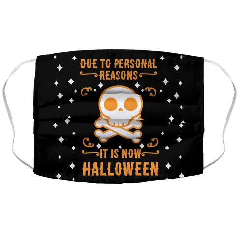 Due To Personal Reasons It Is Now Halloween Skull (Orange) Accordion Face Mask