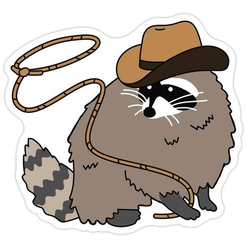 Cowboy Raccoon Lasso Die Cut Sticker